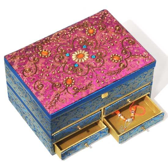 R Expo USA Song of India Embroidered Fabric Jewelry Box 10x55