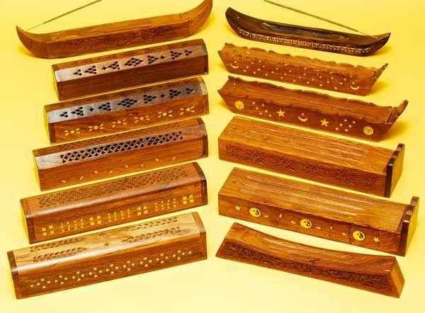 Wooden Incense Burner Boxes Assorted Set12