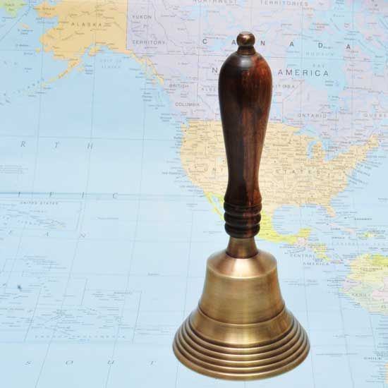 R Expo Usa Song Of India Brass Nautical Hand Bell 7 25