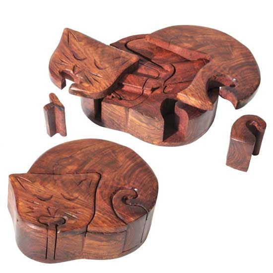 R Expo Usa Song Of India Wood Cat Puzzle Box Importers Of