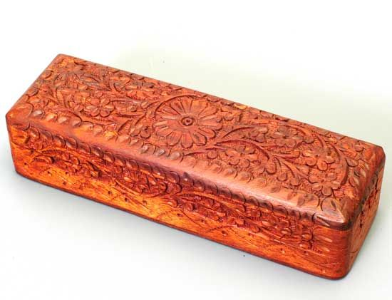 R Expo Usa Song Of India Wood Pencil Box Hand Carved 8x2