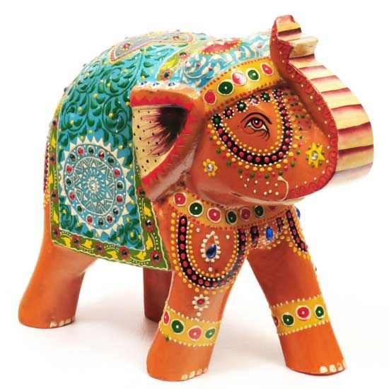 Hand Painted Wood Elephant 8 H