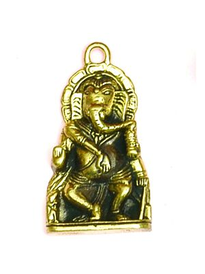 Small Antique Brass Ganesh Pendant