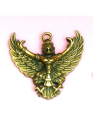 Small Antique Brass Pendant of  Garuda
