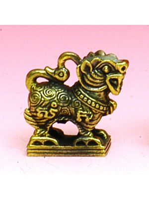 Small Antique Brass Pendant Lion