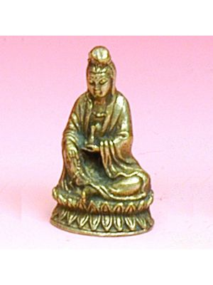Small Antique Brass Figurine of  Quan Yin