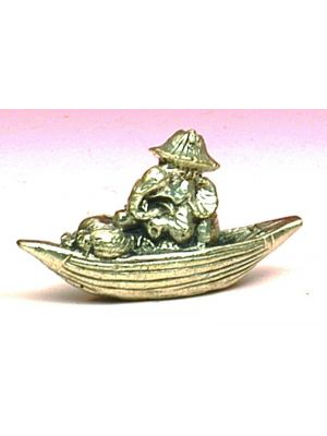 Mini Metal Ganesha In A Boat