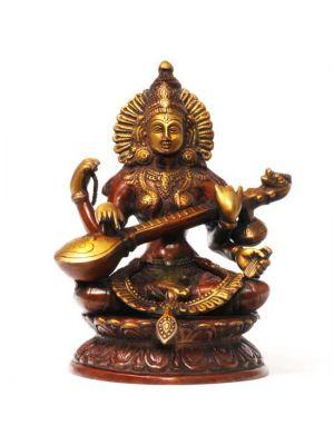 Brass Sitting Saraswati 10