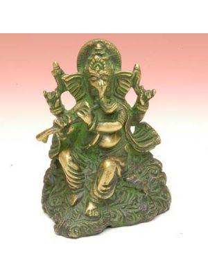 Brass Ganesh Playing Flute 3.5