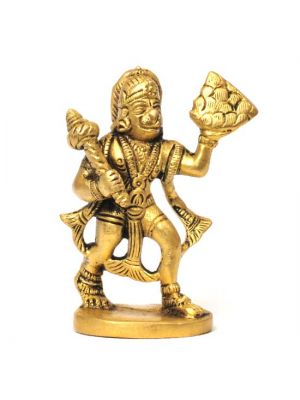 Brass Hanuman with Mountain 3.25