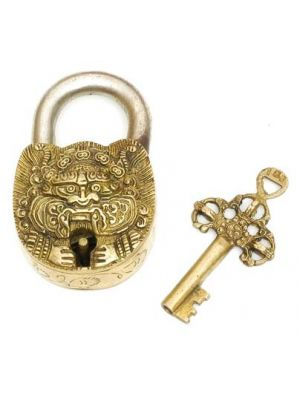 Brass Art Lock W/Key Dragon 4.5