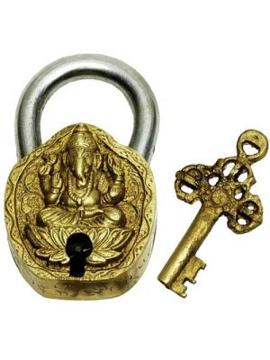 Brass Art Lock W/Key Ganesha 4.5