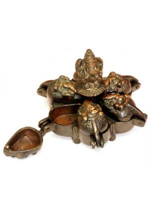 Brass Antique Ritual Box with Ganesha 3.25