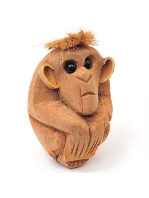 Hand Carved Natural Coconut Monkey