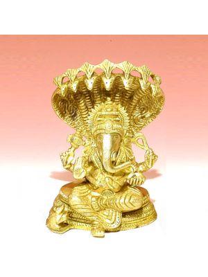 Brass Ganesha On Cobra 6.5