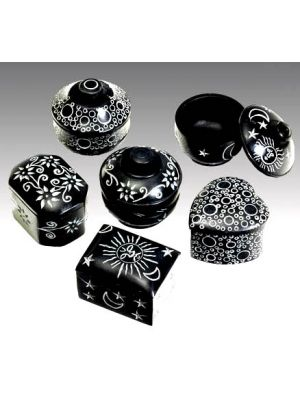 Black Stone Boxes with Assorted Etchings Set of 12