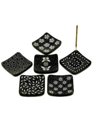 Black Stone Square Incense Burner Set of 6, 3