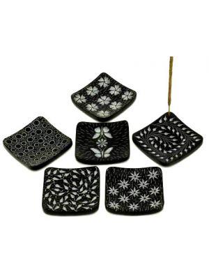 Black Stone Square Incense Burner Set of 6, 3
