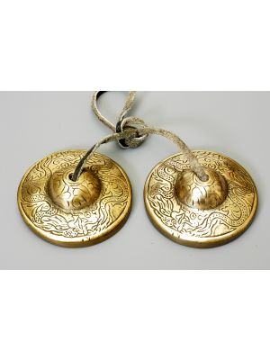 Etched Brass Tibetan Cymbals Dragon