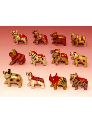Stone Animals 12 Pcs  Painted