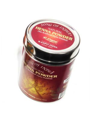 Natural Color Henna Powder in Steel Jar