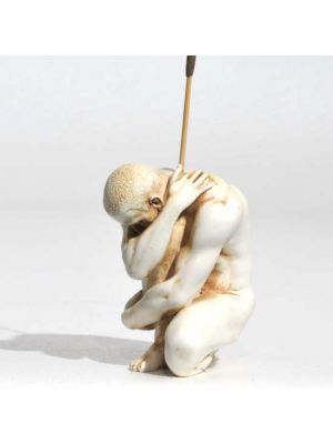 Crouching Man Incense Burner in Antique Ivory