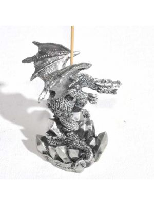 Fascinating Dragon Incense Burner on Jagged Rock in Silver painted