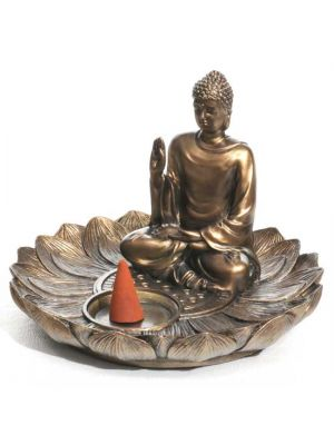 Lotus Blessing Buddha Incense & Cone Burner Resin & Bronze
