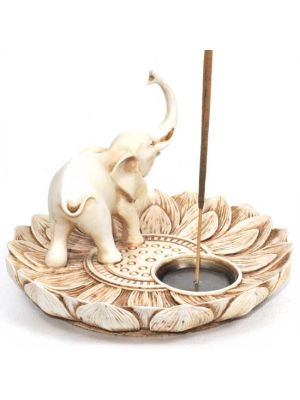 Lotus Elephant Incense & Cone Burner Antique Ivory