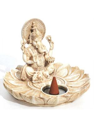 Lotus Ganesha Incense & Cone Burner Antique Ivory