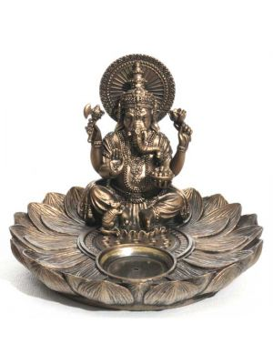 Lotus Ganesh Incense & Cone Burner - Resin & Bronze