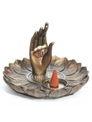 Lotus Hand Incense & Cone Burner Resin & Bronze