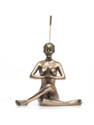 Cold Cast Bronze Resin Yoga Incense Burner Woman In Shoelace Pose