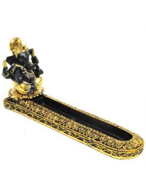 Gold Ganesha Resin Incense Burner 4.5