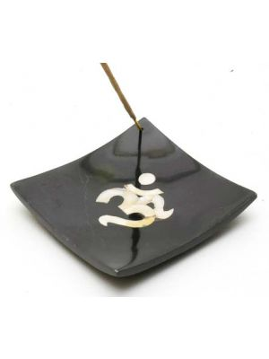 Black Stone Square Om Incense Plate 4.5x4.5