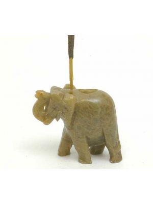 Medium Elephant Incense Stick and Cone Burner in Stone.