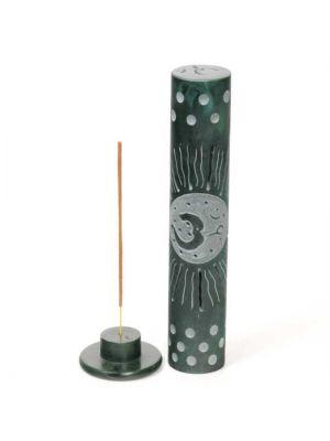 Green Dyed Hand Carved OM/Sun Soapstone Incense Burner Tower 10.5