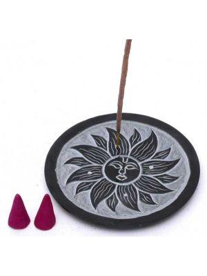 Sun Black Soapstone Incense Burner