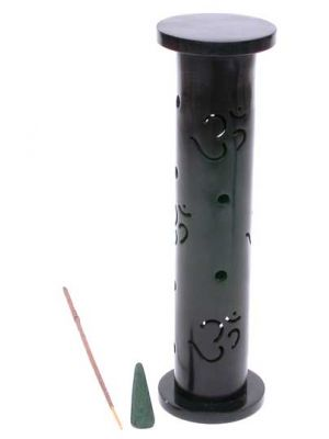 Black Om Stone Incense Burner Tower