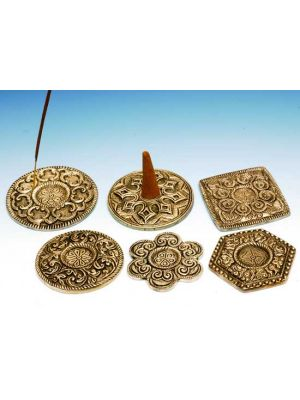 Incense Burner White Metal Plates Set/6, 3