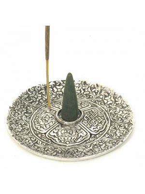 White Metal Cone and Stick Incense Burner