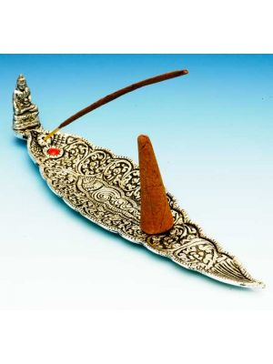 White Metal Incense Burner Boat Buddha 9