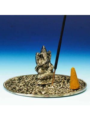 White Metal Incense Sticks and Cones Burner Saucer with Ganesh.