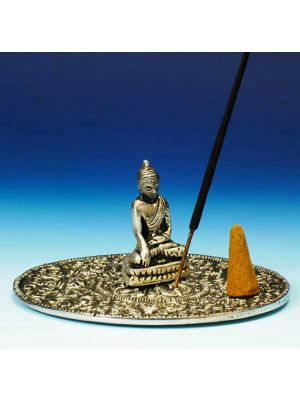 White Metal Incense Stick and Cone Burner Saucer with Buddha.