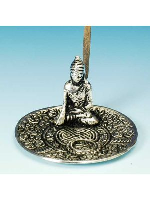 Light Metal Incense Sticks and Cone Burner Saucer with Buddha 3