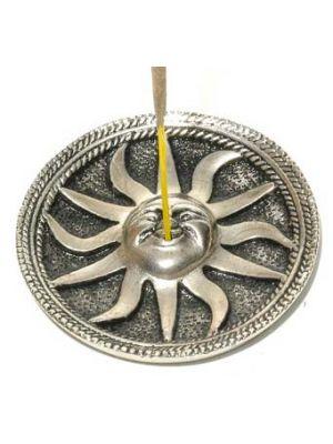 White Metal Incense Burner Plate Antique Sun 3