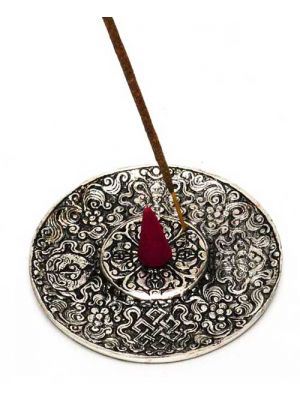 White Metal Incense Burner Plate 4