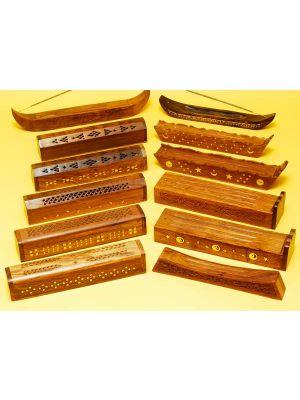 Wooden Incense Burner Boxes Assorted Set/12.
