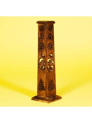 Burnt Wood Hand Carved/Filigree Tower Incense Holder 12