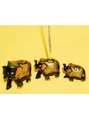 Incense Burner Wood Painted Elephant.Set/3